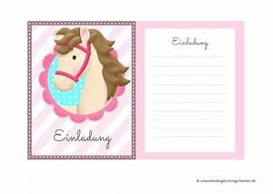 Einladung Kindergeburtstag Gestalten : einladungskarten pferde zum kindergeburtstag kostenlose vorlagen zum herunterladen ~ Markanthonyermac.com Haus und Dekorationen