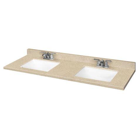 shop dune solid surface integral bathroom vanity top common 61 in x 22 in actual 61 in x 22