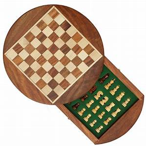 Wholesale 7x7 Inch Round Wooden Chess Set with Storage ...