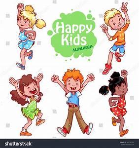 Set Happy Children Very Happy Cute Stock Vector 342747932 ...