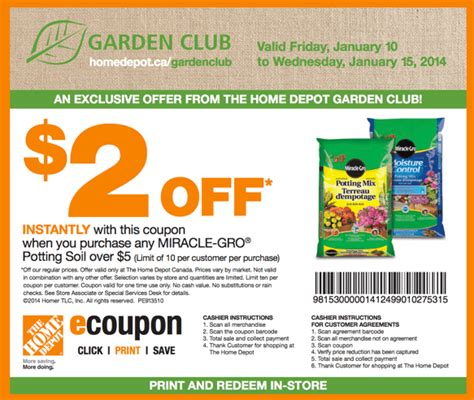 the home depot garden club printable coupons get 2 your purchase of any miracle gro