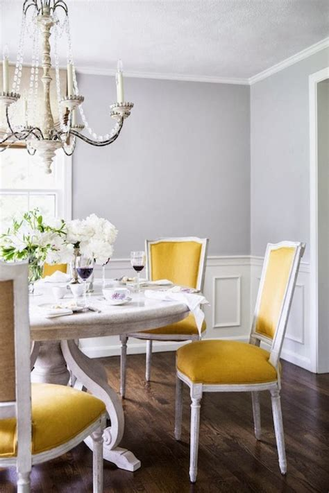Yellow Dining Chairs  Transitional  Dining Room  Farrow
