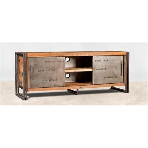meuble tv bois recycl 233 2 portes coulissantes 160x60 caravelle