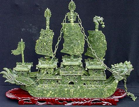 Jade Dragon Boat Carving by Jade Dragon Boat Carving Handmade In China For Sale J53