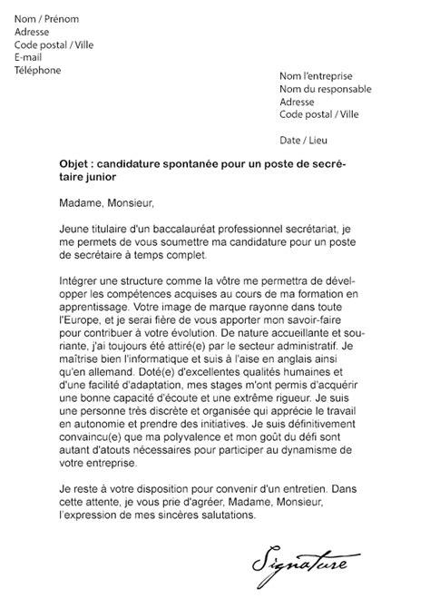 modele lettre de motivation spontanee secretaire document