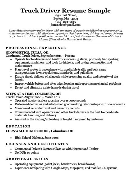 Truck Driver Resume Sample  Resume Companion. What Should Women Wear To An Interview Template. Press Kit Template. Student Resume Format Download Template. Job Application Salary History Template. Resume For Lpn Nurse Template. Letter Of Reference From Teacher Template. Simple Excel Budget Template Free Template. Word Template Invoice
