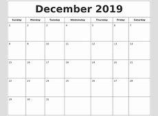 December 2019 Printable Calendar yearly printable calendar