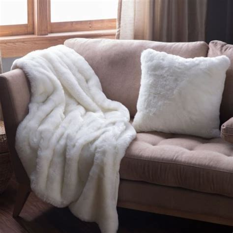Faux Fur Throw Off White Throws Soft Bed Sofa Accent Couch