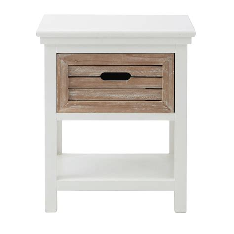 wooden bedside table with drawer in white w 40cm ouessant maisons du monde