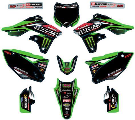pin kit deco complet rockstar bud racing kawasaki kxf pictures on
