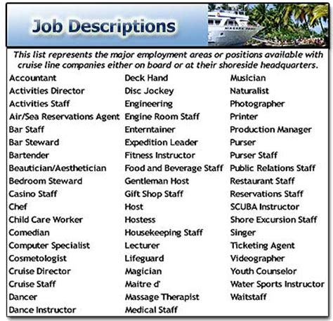 Boat Service Jobs by Cruise Line Job Opportunities Cruise Job Descriptions