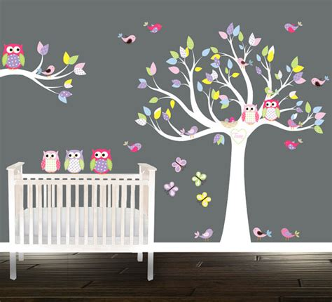 items similar to tree owl wall stickers wall tree decal nursery tree birds owls branch