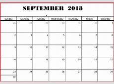September 2018 Calendar Blank – Printable Templates Letter