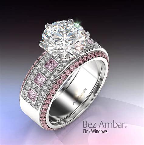 Diamond Pink Sapphire Engagement Ring Set Windows
