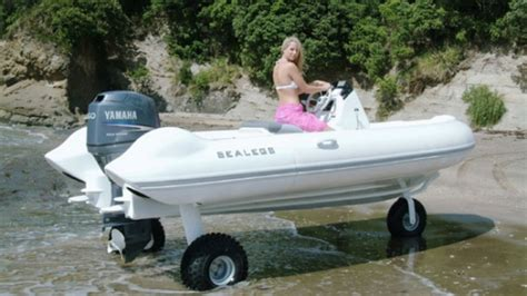 Inflatable Boat With Drive Wheels by Sealegs Hibious Boat Powers Over Land And Sea