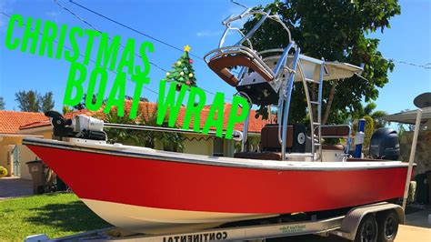 Red Boat Vinyl Wrap by Diy Christmas Fishing Boat Wrap Red For Holidays How To