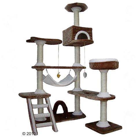 arbre chat maison en d pice marron blanc of zooplus fr be 185051 0