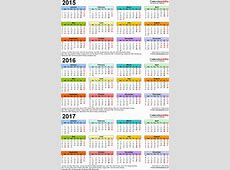 Three year calendars for 2015, 2016 & 2017 UK for Excel