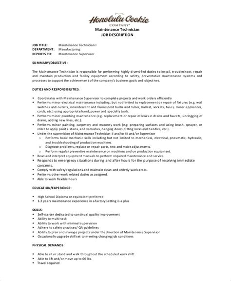 Maintenance Job Description  9+ Free Pdf Documents. Microsoft Word For Business Template. Free Microsoft Resume Templates. Free Spreadsheet Software For Pc. Resume Objective Career Change. Mla Book Citation Format Template. Samples Of Employment Cover Letters Template. Software Quotation Format Doc Template. Profit And Loss Reports Template