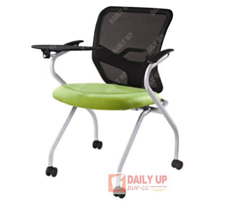 mesh cushion school chair with casters office staff conference chair with tablet protable fold