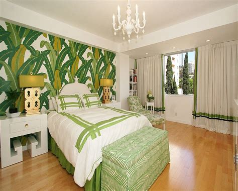 Tropical Decorations On Bed, Home Office Luxury Tropical