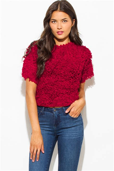 Boat Neck Wine Red Sweater by Shop Wine Red Textured Boat Neck Wide Short Sleeve Sweater