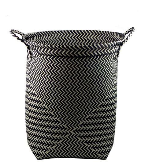 grand panier 224 linge en polypropyl 232 ne noir et blanc wadiga