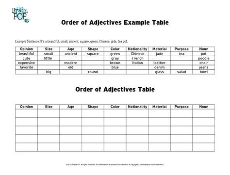 Free Printable Esl Adjective Order Worksheet Goodsnyccom