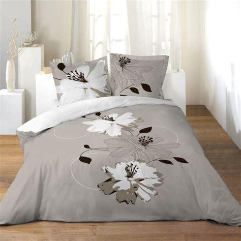 housse de couette grand lit 2 personnes 100 coton 260x240 cm volupte noir gris