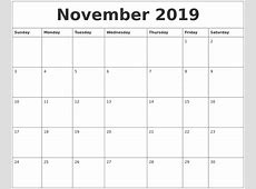 November 2019 Calendar Template printable yearly calendar