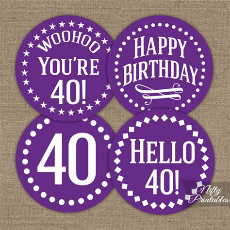 40th birthday cupcake toppers purple nifty printables