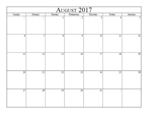calendar template for june july august 2017 august 2017 printable calendar templates free printable
