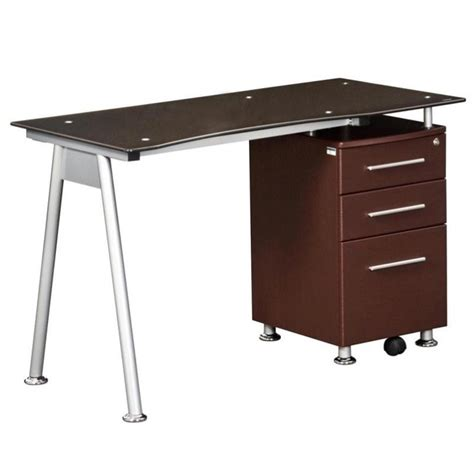 techni mobili tempered glass top computer desk in chocolate rta 1565 ch36