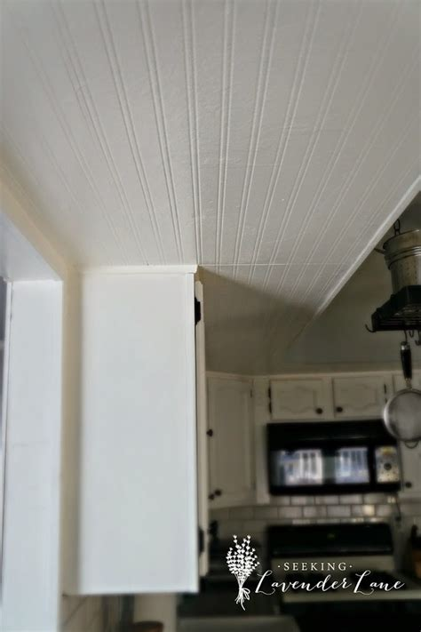Adding Beadboard Wallpaper To Our Kitchen Ceiling