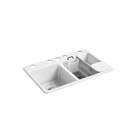 kohler riverby undermount cast iron 33 in 5 basin kitchen sink kit with accessories