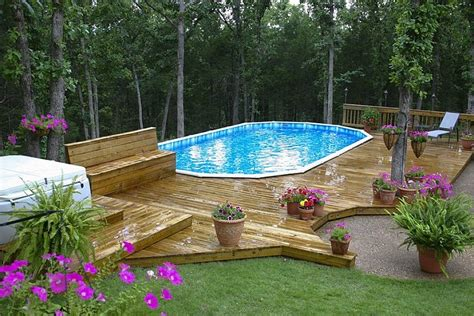 above ground pool deck ideas from wood for relaxation area at home homestylediary