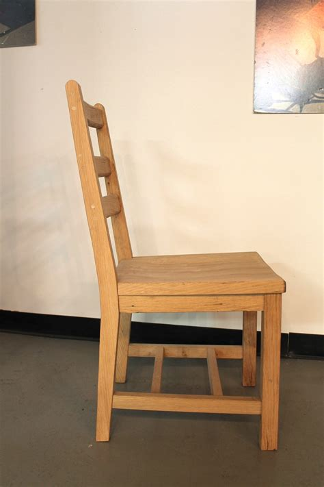 oak ladder back dining chair with scoop seat ecustomfinishes
