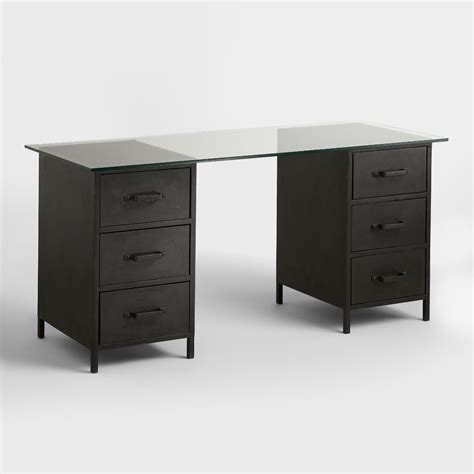 glass top and metal drawer colton mix match desk world market