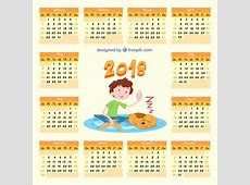 2018 calendar with child and dog Vector Free Download