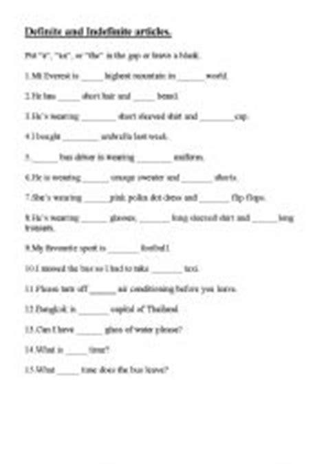 Definite Article Worksheets