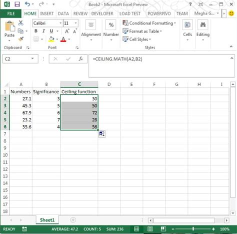 ceiling math function in excel 2013