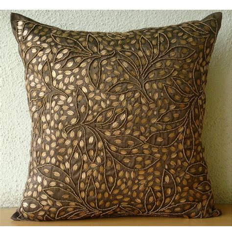 brown throw pillows cover for square sequins beaded