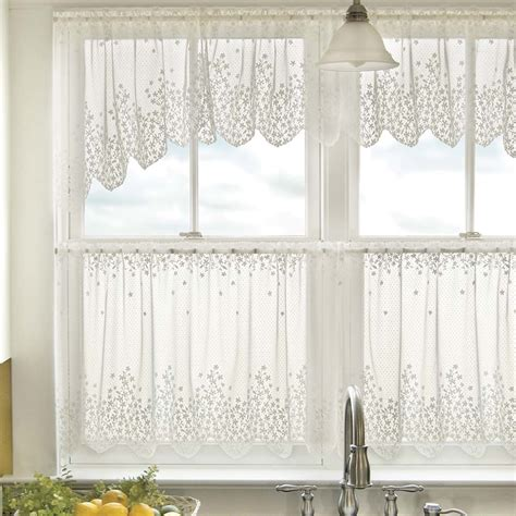 blossom floral lace kitchen curtains in white and beige