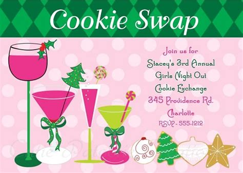 Preppy Cocktails And Cookie Exchange Party Invitation