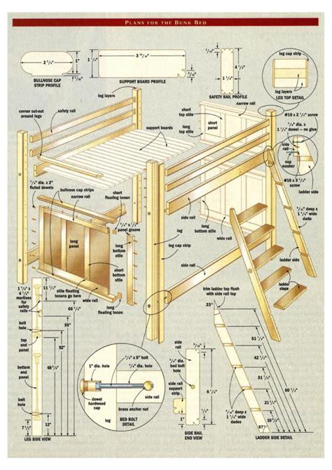 Loft Bed Woodworking Plans pdf plans bunk bed building plans designs desk