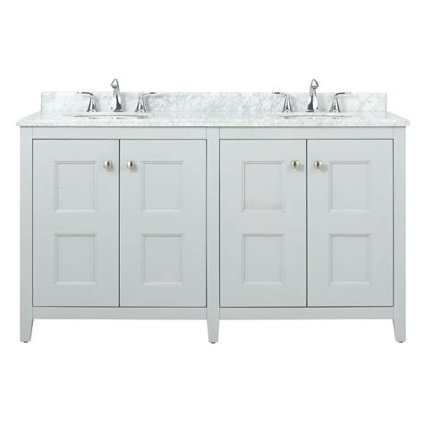home decorators collection union square 60 in w vanity in dove grey with marble vanity