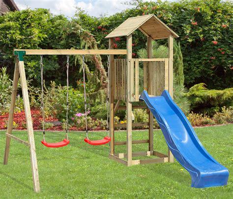 balan 231 oire portique h2 65m enfant aire de jeux en bois avec 2 balan 231 oires 1 toboggan une
