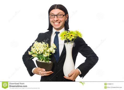 homme d affaires bel avec le pot de fleur d isolement dessus photo stock image 57688111