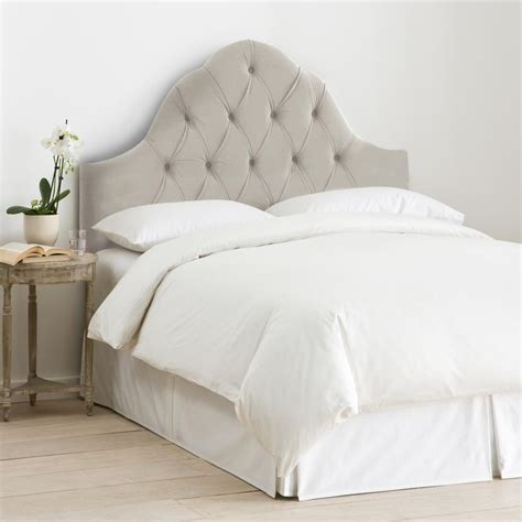 velvet light grey king high arched tufted