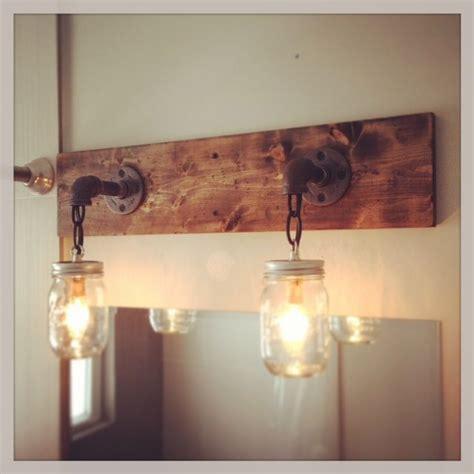 Shabby Chic Bathroom Vanity Light by Industrial Rustic Modern Wood Handmade Jar Light